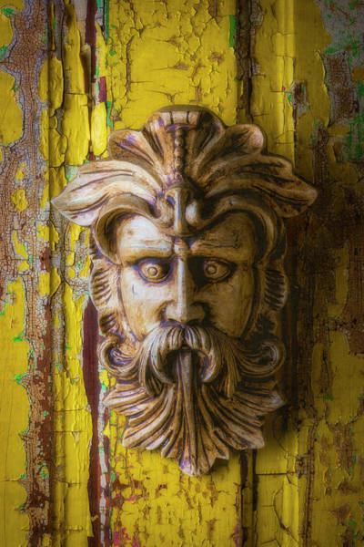 Wall Art - Photograph - Viking Mask On Old Door by Garry Gay