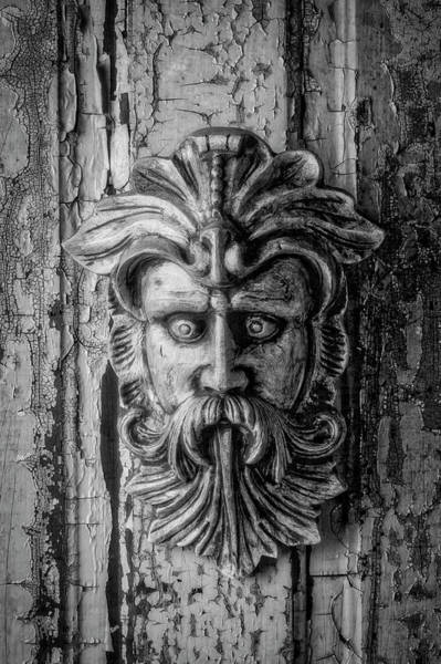Wall Art - Photograph - Viking Mask On Old Door In Black And White by Garry Gay