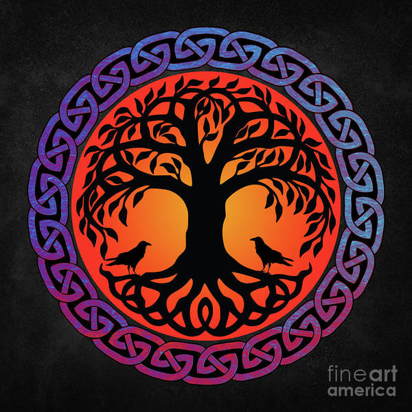 Celtic Mythology Wall Art - Painting - Viking Yggdrasil World Tree With Ravens Huginn Muninn by Tina Lavoie