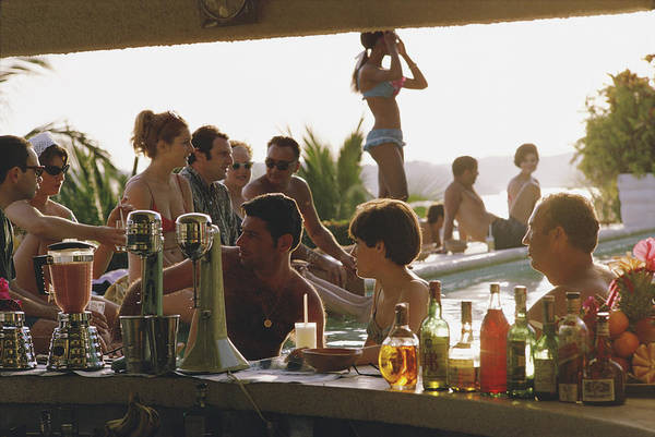 Bar Counter Photograph - Villa Vera by Slim Aarons