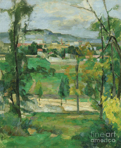 Wall Art - Painting - Village Behind Trees by Paul Cezanne
