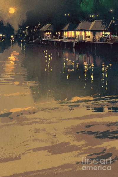 Float Wall Art - Digital Art - Village Beside River,night Scene by Tithi Luadthong