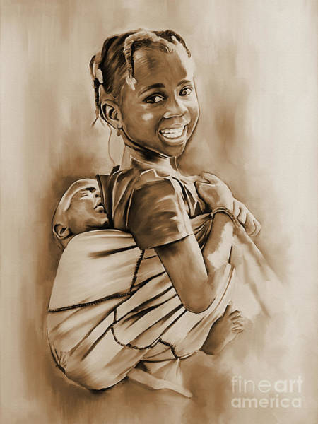 African Dance Painting - Village Girl Carrying Child  by Gull G