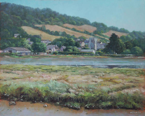 Painting - Village Of Axmouth On The River Axe by Martin Davey