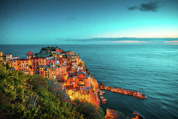 Painting - Village Of Manarola At Night Dwp1721002 by Dean Wittle