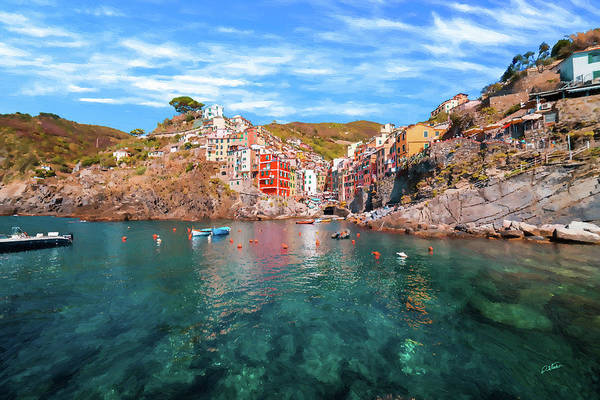 Painting - Village Of Riomaggiore Cinque Terre Italy - Dwp1721003 by Dean Wittle