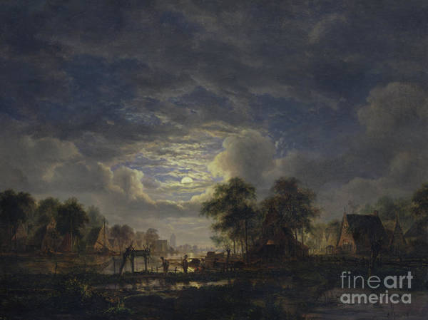 Dark Shadows Painting - Village On A Canal, 1840  by Jacobus Theodorus Abels
