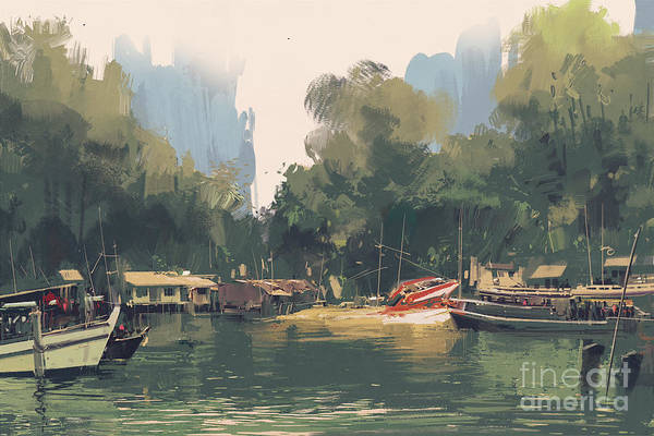 Float Wall Art - Digital Art - Village On The Bank Of by Tithi Luadthong