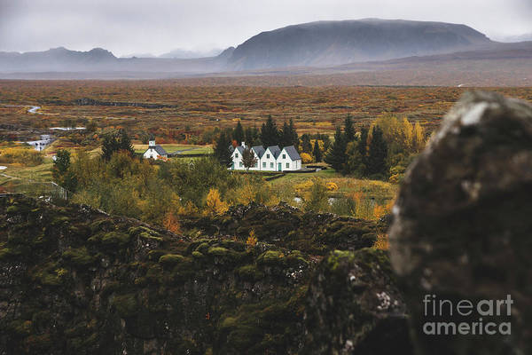 Photograph - Village With Farms In A Rural Area Of The Mountains Of Iceland, With Snowy Mountains In The Background. by Joaquin Corbalan