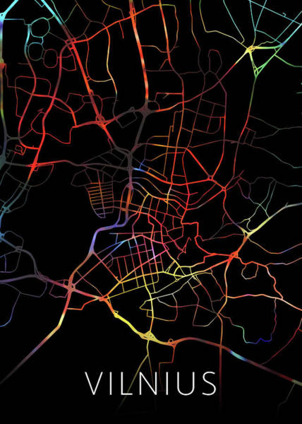 Wall Art - Mixed Media - Vilnius Lithuania Watercolor City Street Map Dark Mode by Design Turnpike