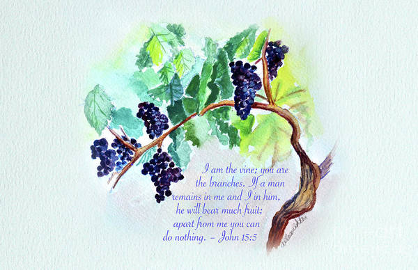 Painting - Vine And Branch With Scripture by Allison Ashton