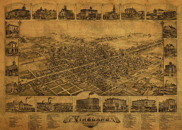New Jersey Mixed Media - Vineland New Jersey Vintage City Street Map 1885 by Design Turnpike