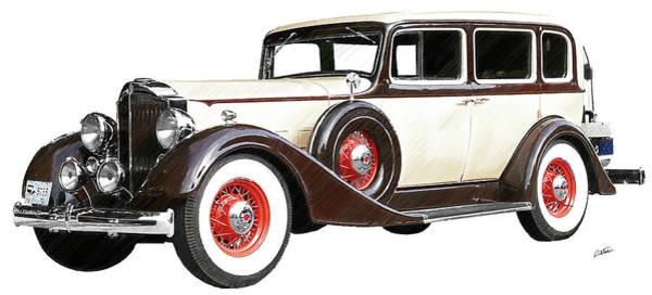 Drawing - Vintage 1934 Packard Sedan - Dwp2737447 by Dean Wittle