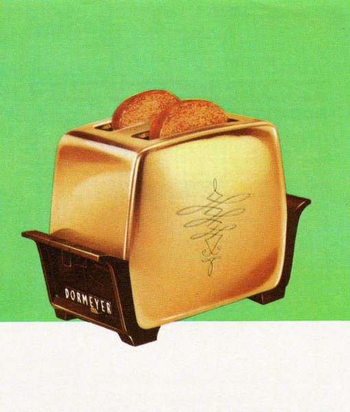 Wall Art - Digital Art - Vintage 1950s Goldtone Toaster by Graphicaartis