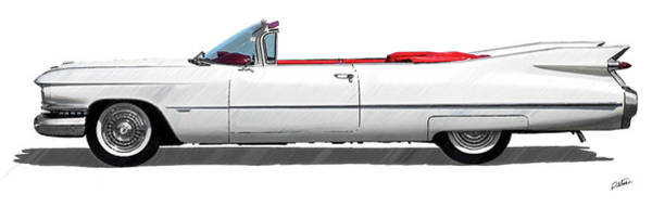 Drawing - Vintage 1962 Cadillac Cabriolet - Dwp4202303 by Dean Wittle