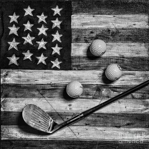 Wall Art - Photograph - Vintage 8 Iron And Golf Balls On American Flag Square Format Black And White by Paul Ward