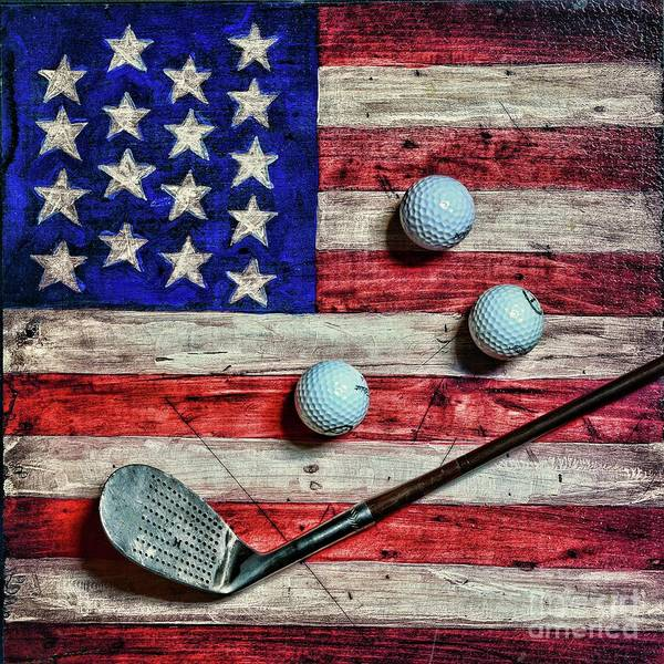 Wall Art - Photograph - Vintage 8 Iron And Golf Balls On American Flag Square Format by Paul Ward