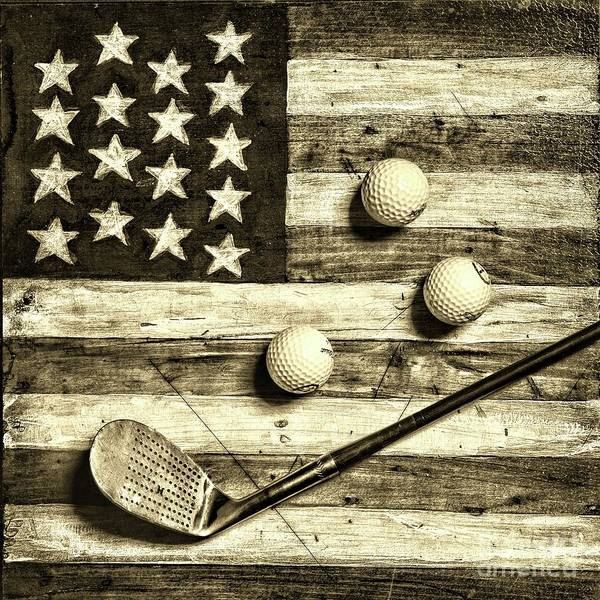 Wall Art - Photograph - Vintage 8 Iron And Golf Balls On American Flag Square Sepia by Paul Ward