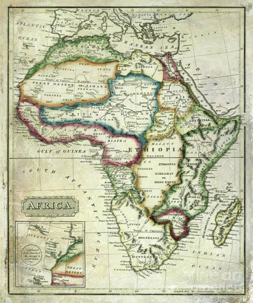 Wall Art - Photograph - Vintage Africa Map by Jon Neidert