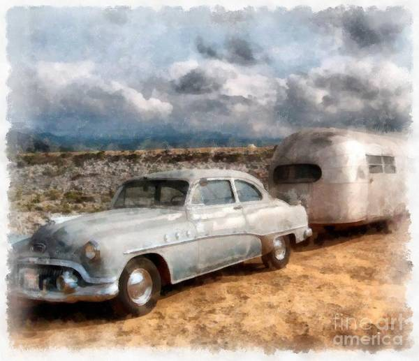 Wall Art - Digital Art - Vintage Airstream 1947 Watercolor by Edward Fielding