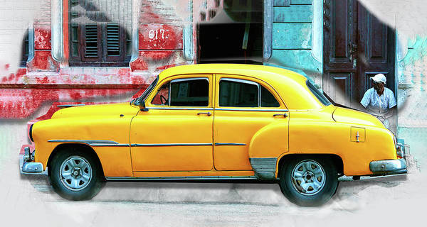 Collector Car Painting - Vintage American Car In Old Havana Cuba by Elaine Plesser