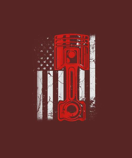 Wall Art - Digital Art - Vintage American Flag Diesel Muscle Car Mechanic Mens Usa T-shirt by Unique Tees