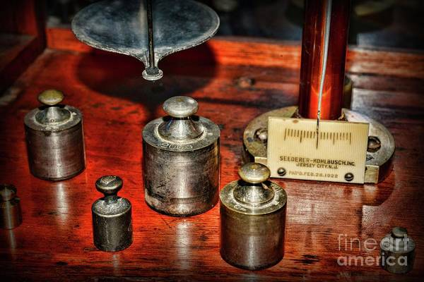 Wall Art - Photograph - Vintage Apothecary Pharmacist Weights And Scale by Paul Ward