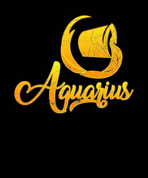 09d1026ea Birth Signs Wall Art - Digital Art - Vintage Aquarius Zodiac Sign Retro  Horoscope Birthday Gift