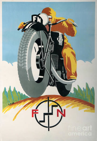 Wall Art - Painting - Vintage Art Deco Motorcycle Ad From 1934 by Tina Lavoie