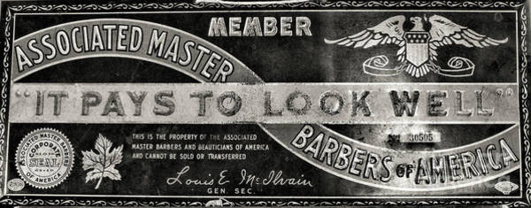 Wall Art - Photograph -  Vintage Associated Master Barber Sign Black And White by Paul Ward