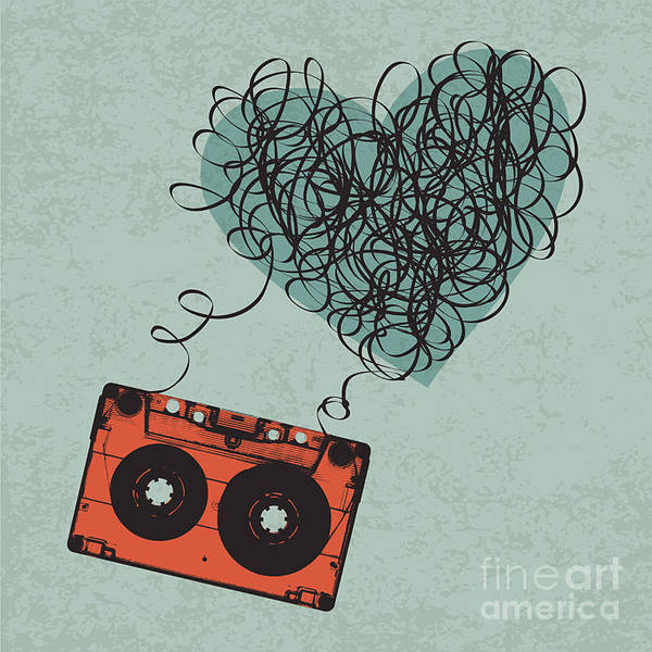 Wall Art - Digital Art - Vintage Audio Cassette Illustration by Pashabo