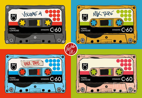 Wall Art - Digital Art - Vintage Audio Tapes by Blackstroke