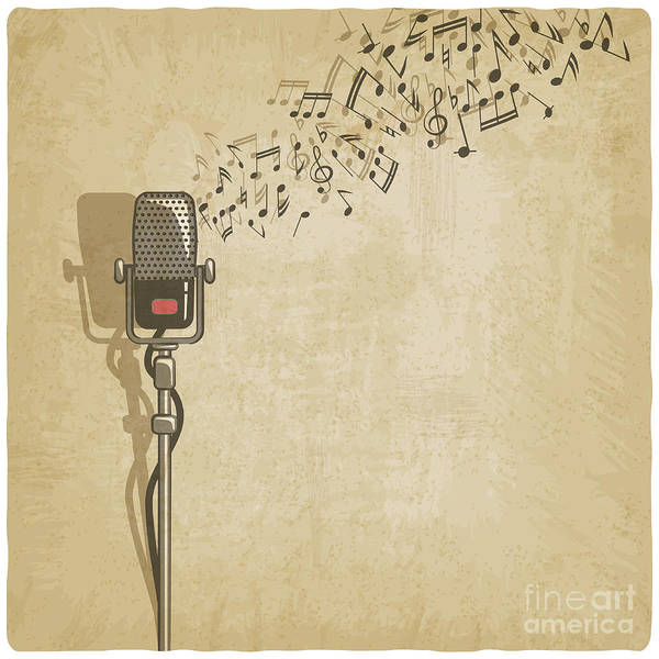Wall Art - Digital Art - Vintage Background With Microphone - by Natbasil