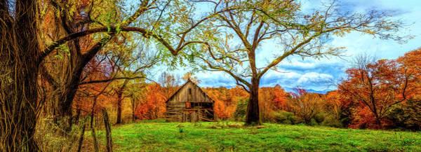 Photograph - Vintage Barn In The Smokies Panorama Painting by Debra and Dave Vanderlaan