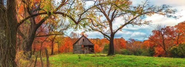 Photograph - Vintage Barn In The Smokies Panorama Watercolors Painting by Debra and Dave Vanderlaan