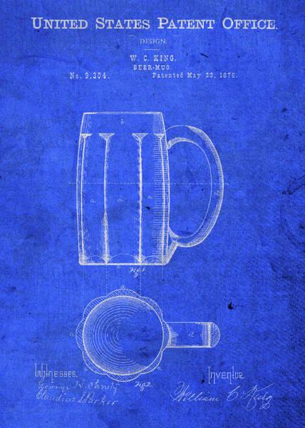 Beer Mixed Media - Vintage Beer Mug Patent Blueprint by Design Turnpike