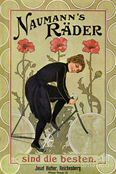 Wall Art - Drawing - Vintage Bicycle Advertisement Woman Cycling Circa 1905 by German School