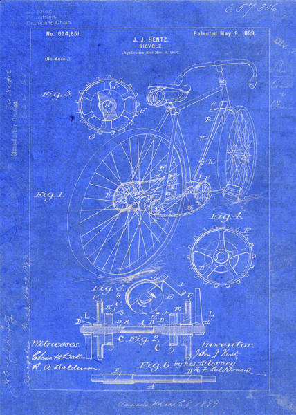 Patent Mixed Media - Vintage Bicycle Patent Drawing by Design Turnpike