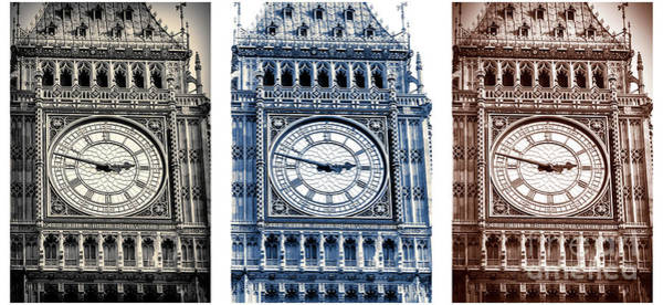 Photograph - Vintage Big Ben Triptych In London by John Rizzuto
