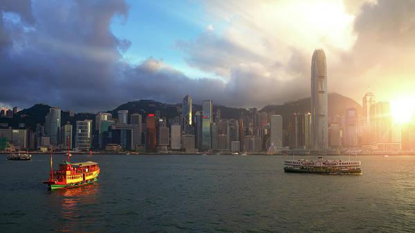 Hongkong Photograph - Vintage Boat With Hong Kong City  by Anek Suwannaphoom