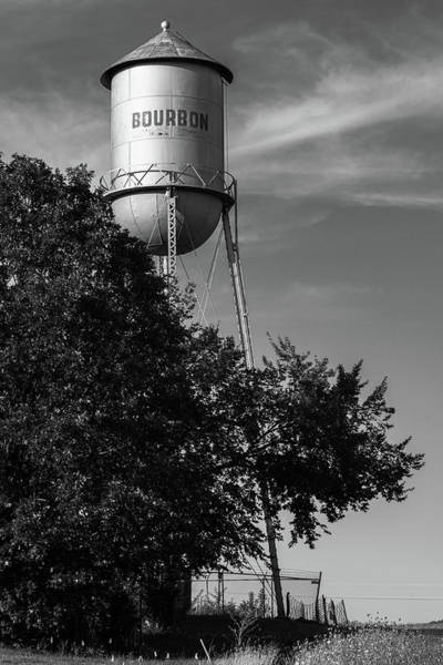 Photograph - Vintage Bourbon Tower - Route 66 Monochrome by Gregory Ballos