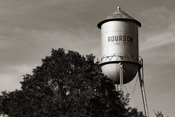 Photograph - Vintage Bourbon Water Tank Along Old Route 66 - Sepia by Gregory Ballos