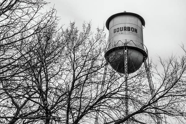 Photograph - Vintage Bourbon Water Tower With Tree In Monochrome by Gregory Ballos