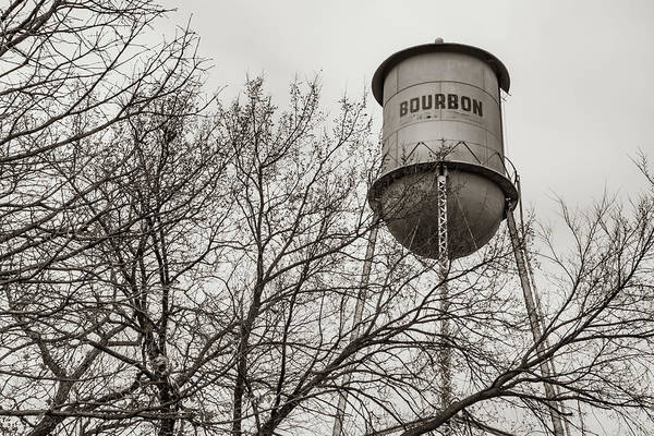 Photograph - Vintage Bourbon Water Tower With Tree In Sepia by Gregory Ballos