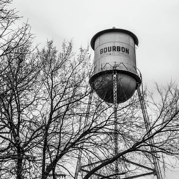 Photograph - Vintage Bourbon Water Tower With Tree - Square Monochrome by Gregory Ballos