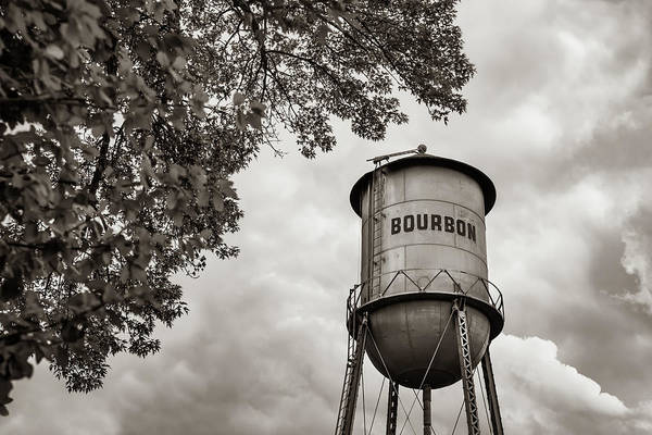 Photograph - Vintage Bourbon Whiskey Water Tower And Tree - Classic Sepia by Gregory Ballos