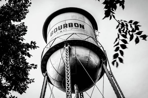 Photograph - Vintage Bourbon Whiskey Water Tower In Black And White by Gregory Ballos
