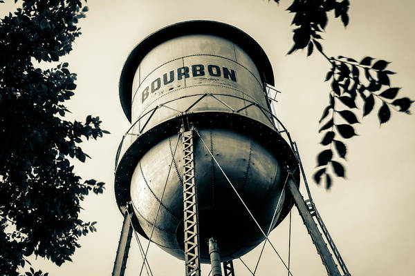 Photograph - Vintage Bourbon Whiskey Water Tower In Sepia by Gregory Ballos