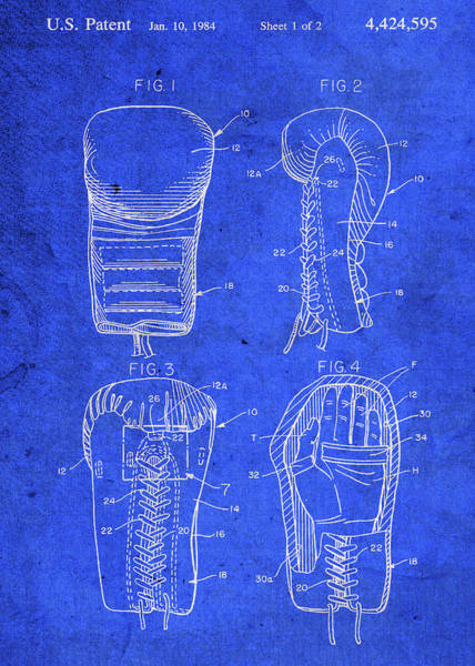 Boxing Mixed Media - Vintage Boxing Glove Patent Blueprint by Design Turnpike