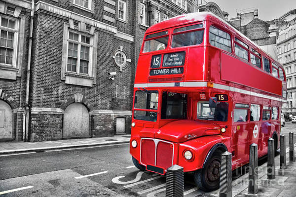 Wall Art - Photograph - Vintage Bus In London by Delphimages Photo Creations